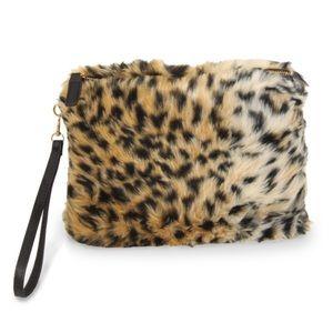 Faux fur clutch with detachable wristlet strap!